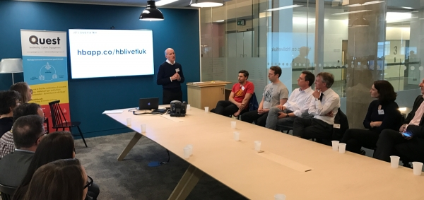 Paul Philips, head of internal communication at Time Inc. UK, presenting Heartbeat at an event in Southwark